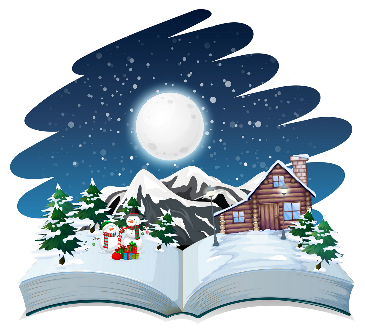 open book winter outdoor theme vector